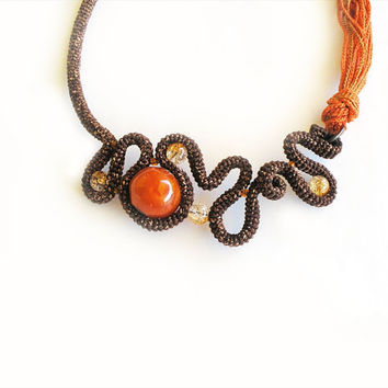 Crochet Statement Necklace Free Form Trendy by vanessahandmade