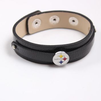 10Pcs/lot Balck PU Leather Bracelets American Football Pittsburgh Steelers Slide Charms Adjustable Bracelets Bangle For Women