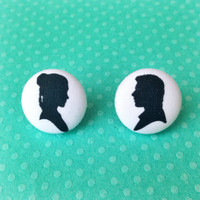 "Handmade ""Han & Leia"" Star Wars inspired Han Solo and Leia Silhouette Earrings - 3/4"""