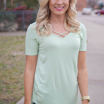 Cross My Heart Top: Sage