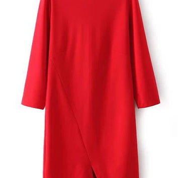 Red 3/4 length Sleeved Stitching Front Slit Dress