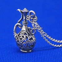 Antique Silver Water Bottle Necklace Pendant - Aquarius Necklace Charms - Aqurian Age