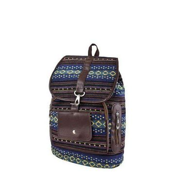 LMF78W Blue Tribal Print Backpack