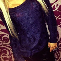 Casual Crochet Cut Out Back Long Sleeve Sweater