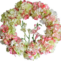 Blended Hydrangea Wreath with Orchid Flowers | Spring Wreath | Hydrangea Wreath | Front Door Wreaths | Wedding Wreath | Easter Decoration