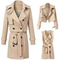 Khaki Double-Breasted Belted Lapel Coat