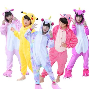 Kids Pajamas Flannel Animal Unicorn Pikachu Stitch Costume Cosplay Winter Cute Cartoon Children Sleepwear Baby Pyjamas Onesuits