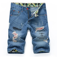 Summer Ripped Holes Slim Denim Pants Jeans [6541767875]