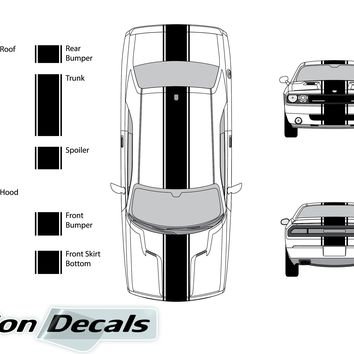 "Dodge Challenger 2009 15"" Rally Racing Stripe with Pin Stripes Vinyl Decal Kit"
