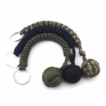 Strand Stainless Steel Ball Pendant Paracord Parachute Cord Key Chain Ring Outdoor Climbing Camping Umbrella Rope Survival Kits