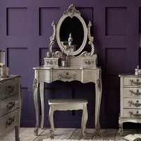 Toulouse Silver Dressing Table and Stool | Dunelm