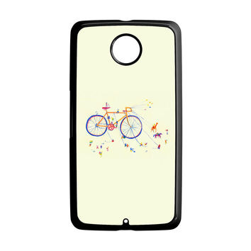 Watercolor bicycle colorful Nexus 6 Case