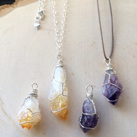 Silver Wire Wrapped Amethyst and Citrine Points