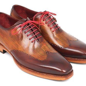 Paul Parkman (FREE Shipping) Men's Wingtip Oxford Goodyear Welted Brown & Camel (ID#81BRW74)