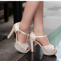 2015 Big Discount Female Sexy Peep Toe Buckle Strap Summer Pumps Girls High Heel Glitter Shoes Women Wedding sandles Big size
