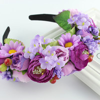 2016 New Women girls Newest Wedding Headband Kids Party Floral garlands with Ribbon flower crown Rose Wreath hairband