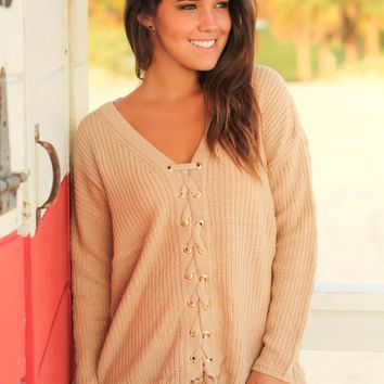 Taupe Knit Lace Up Sweater