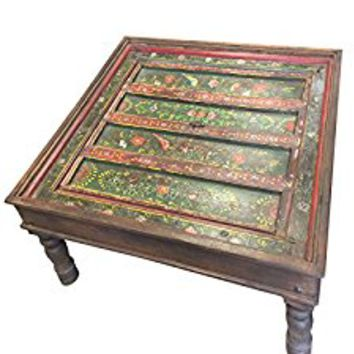 Antique Coffee Table Floral Hand Painted Birds Green Red Indian Square Tables, Chai Table