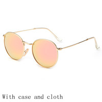 Vintage Round Sunglasses Women men female brand Metal Frames Mirror Lenses Sun Glasses For women retro