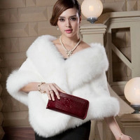 New Winter Leather grass fox fur mink rabbit fur poncho cape bridal wedding dress shawl cape women Pink vest fur coat L660