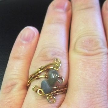 Wire Wrapped Labradorite Gemstone Ring