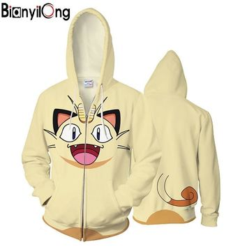 2018 new Anime 3D Hooded Sweatshirt Men  Printed Meow meow Mens Hoodies and Sweatshirts Hip Hop Style Casual Sweat HommeKawaii Pokemon go  AT_89_9