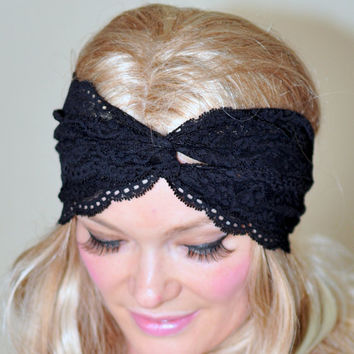 Turban Headband Black Lace Turban Black Turban Headwrap Lace Headband Fashion Girly Romantic Mothers Day gift under 25