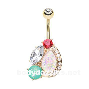 Golden Sparkle Opal Gem Medley Belly Button Ring 14ga Navel Ring Body Jewelry