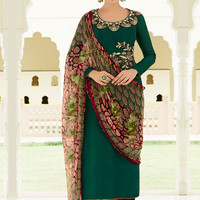 Green Mughal Flowers and Ripple Prints Straight Suit