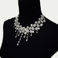 silver diamond beaded bib necklace earrings - large retro vintage necklace -bridal wedding party