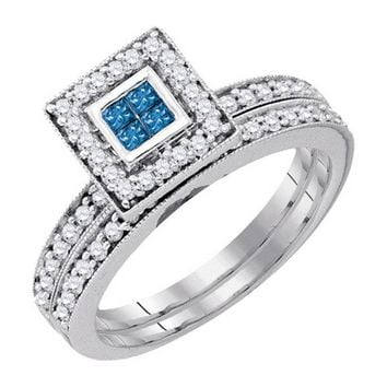Ladies 14k Bridal Princess Cut Genuine Blue Diamond Wedding Ring Set 0.59CT