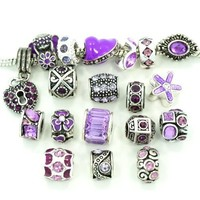 Ten Assorted Purple Crystal Rhinestone Bead Charms
