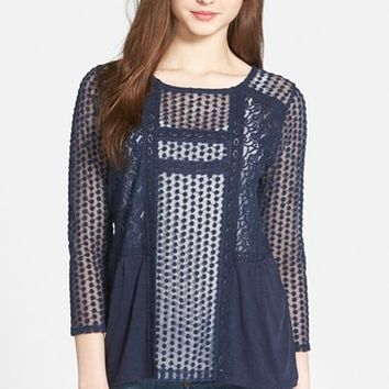 Women's Lucky Brand Mixed Lace Peasant Top,