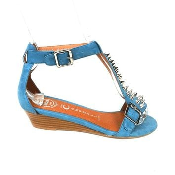 Jeffrey Campbell – Barbary-SP Spike Open Toe Leather Sandals In Blue/Silver Spike | Thirteen Vintage
