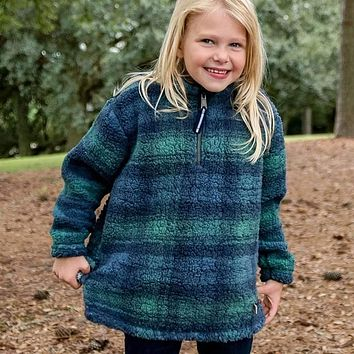 Youth Andover Plaid Sherpa Pullover by Southern Marsh