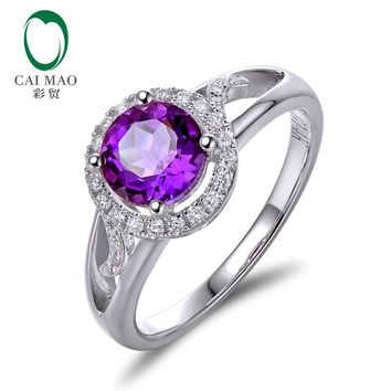 New 14k Gold Natural Good Color Amethyst  and Diamond Engagement Ring free shipping