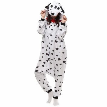 Dalmatian Spotty Dog Fleece Onesuit Homewear Hoodie Pajamas Sleepwear Robe For Adults