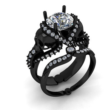 Black Gold Skull Engagement Ring 18 k 2 Carat G I A Certified