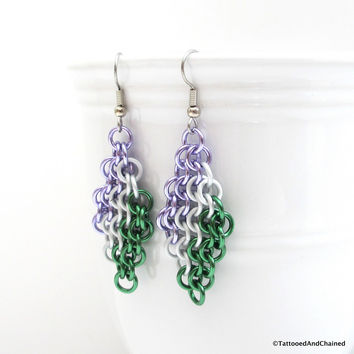 Genderqueer pride earrings, chainmaille European 4 in 1 weave