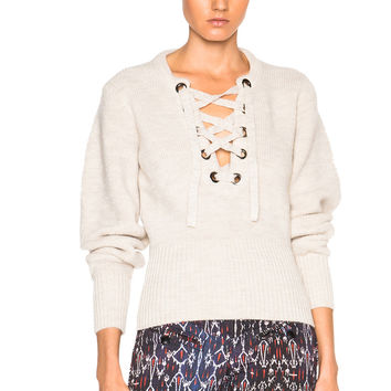 Isabel Marant Charley Lace Up Sweater in Ecru | FWRD