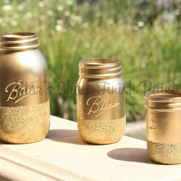 Gold Glitter Mason Jars Set of 3...32oz 16oz 8oz. Dipped in gold glitter