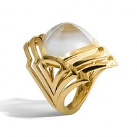 Stephen Webster Lady Stardust Yellow Gold White Mother of Pearl Quartz Ring