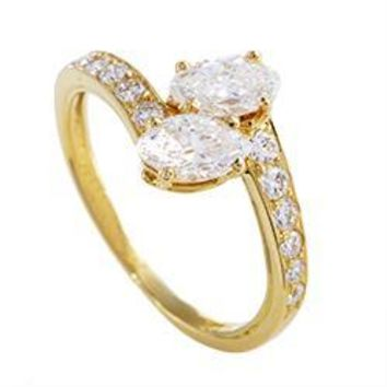 Cartier Yellow Gold Marquise and Round Diamond Ring