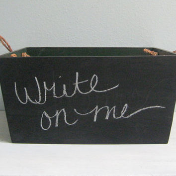 Wooden Box Crate Chalkboard Storage by PNWNestingCo on Etsy