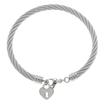 Stainless Steel Bangle Bracelet with Heart Lock Charm