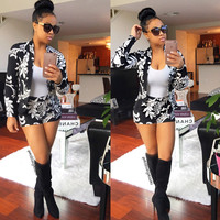 White and Black Floral Blazer and Shorts
