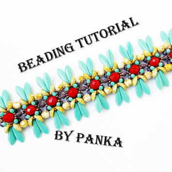 Beading tutorial. Beading pattern. Bracelet tutorial. Instant download.
