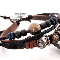 Primitive style leather bracelet with round brass bead from Urban Zen Jewelry Boutique