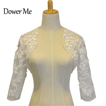 In Stock Wedding Accessory Lace Appliques Custom Made Long Sleeve Bridal Wedding Bolero Jacket Shrug Wraps WJ01