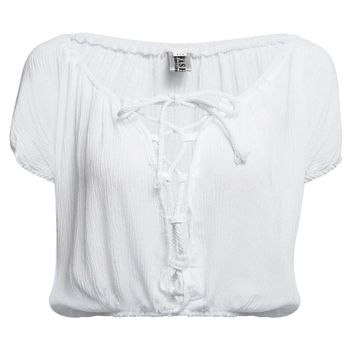 Casual Plunging Neck Short Sleeve Front Bandage Lace-up Solid Color Crop Top for Women